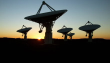 From ska.ac.za: South Africa is currently building the Karoo Array Telescope, or MeerKAT, a mid-frequency 'pathfinder' or demonstrator radio telescope, alongside the SKA core site. The first seven dishes of the local precursor instrument - known as KAT-7 - were completed by December 2010 and are now being commissioned. Photo: Dr Nadeem Oozeer