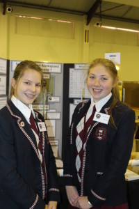Bianca Cromhout and Hannah Boyes used a hairdryer to work out the link between temperature and the sound of speed.