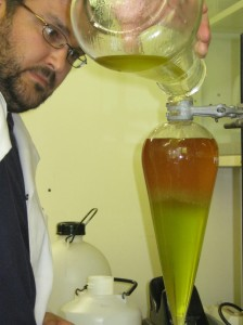 Dr Heino Heyman at work distilling plant extracts. Photo: Supplied