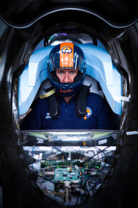 Driver Andy Green in the Bloodhound SSC's cockpit. Photo: Stefan Marjoram