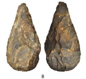 Handbyle van by die miljoen jaar oud wat by Kathu in die Noord-Kaap gevind is. Foto: Steven Walker