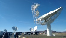 "The ""Offset Gregorian"" type antenna stands among 15 others that form part of the current configuration of the MeerKAT telescope. Photo: Sibusiso Biyela."