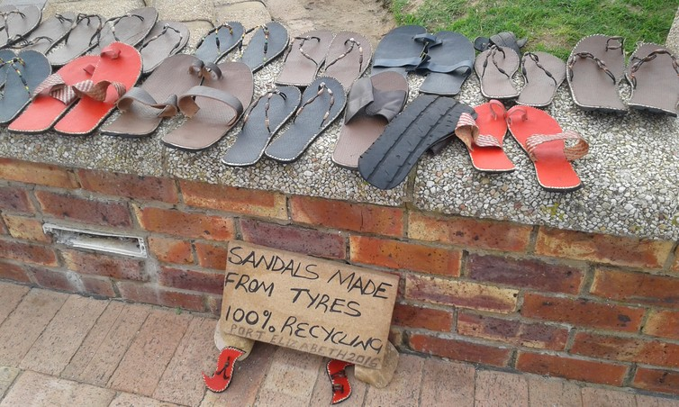 Sandals made of waste tyres. Supplied